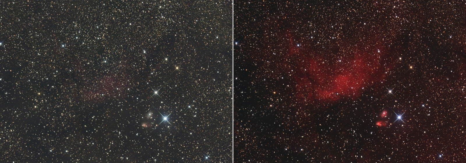 Before and after example of how adding Ha to your colour data can reveal more detail.