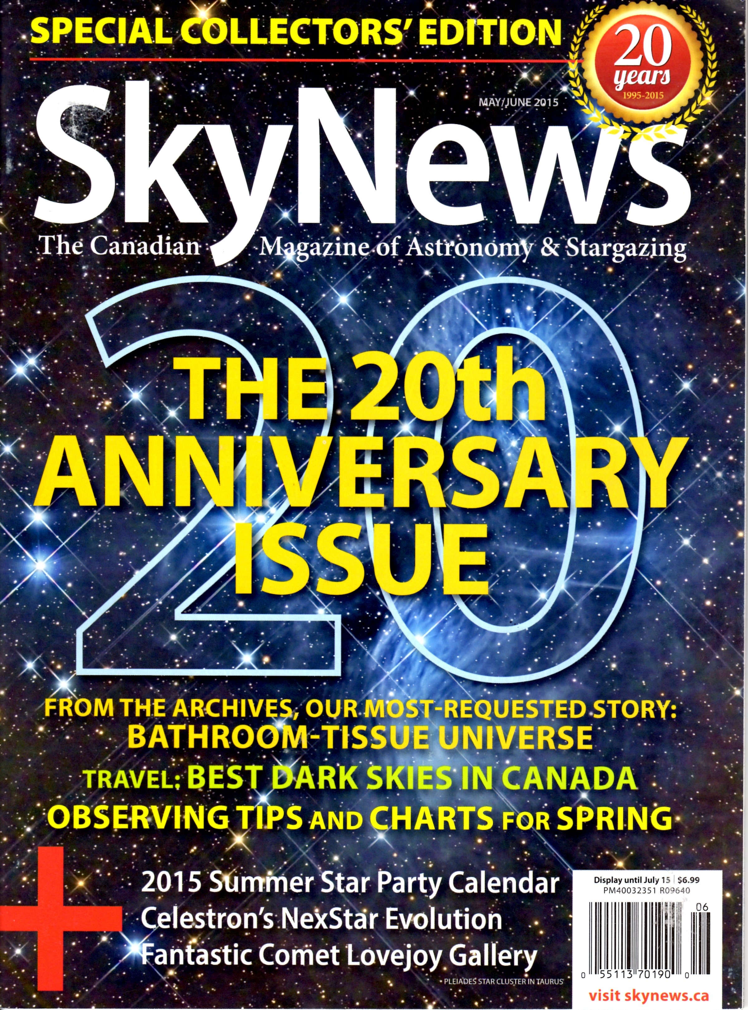 Cover of 20th anniversary skynews magazine issue for Anniversary magazine