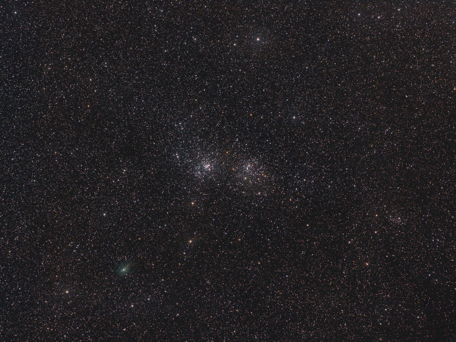Double Cluster and Comet PANSTARRS C/2017 T2