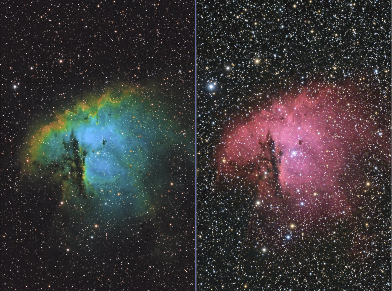 Pacman Nebula in Two Palettes